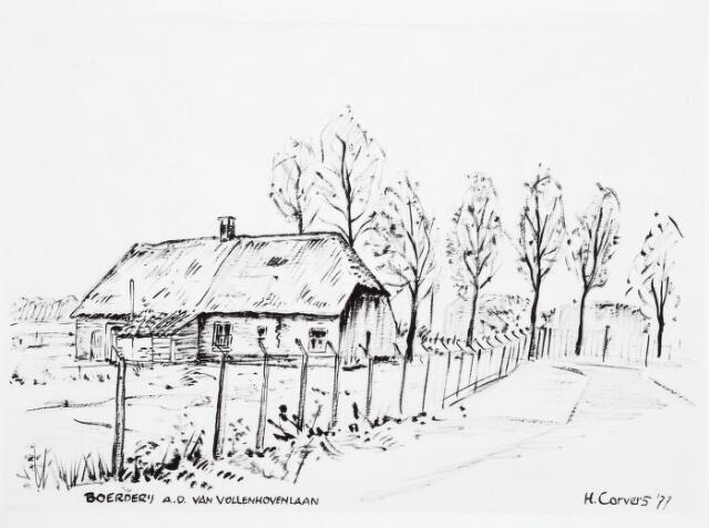 034078 - Tekening. Tekening van H. Corvers van een boerderij aan de Jac. van Vollenhovenstraat