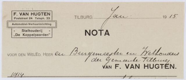 060336 - Briefhoofd. Nota van Stalhouderij F. van Hugten, Willem-II-straat 1494, voor de gemeente Tilburg
