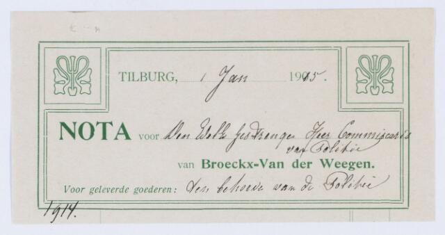 059752 - Briefhoofd. Nota van Broeckx - van der Weegen voor Politie Tilburg