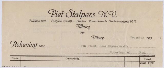 061169 - Briefhoofd. Nota van Piet Stalpers N.V. voor de heer Goyaerts Jr, Spoorlaan 40 te Tilburg
