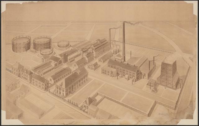 652546 - Tekening gas- en electriciteitsfabriek Tilburg van B. Ruigvoorn.