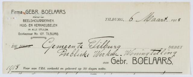 059650 - Briefhoofd. Nota van Firma Gebr. Boelaars, atelier van Beeldhouwwerken. huis- en kerkmeubelen in alle stijlen, Goirkestraat 127, voor gemeente Tilburg