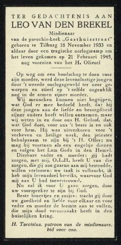 604347 - Tweede Wereldoorlog. Oorlogsslachtoffers. Bidprentje ter nagedachtenis aan Leonardus A.P.M. van den Brekel, omgekomen tijdens een granaatinslag in de omgeving van het Wilhelminapark op 21.2.1945