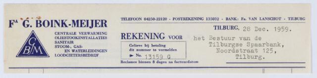 059668 - Nota van Firma G. Böink-Meijer, koperslagerij, Noordstraat 34, voor Tilburgsche Spaarbank, Noordstraat 125