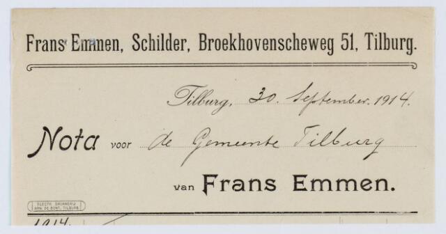 060036 - Briefhoofd. Nota van Frans Emmen, schilder, Broekhovenscheweg 51 voor de gemeente Tilburg
