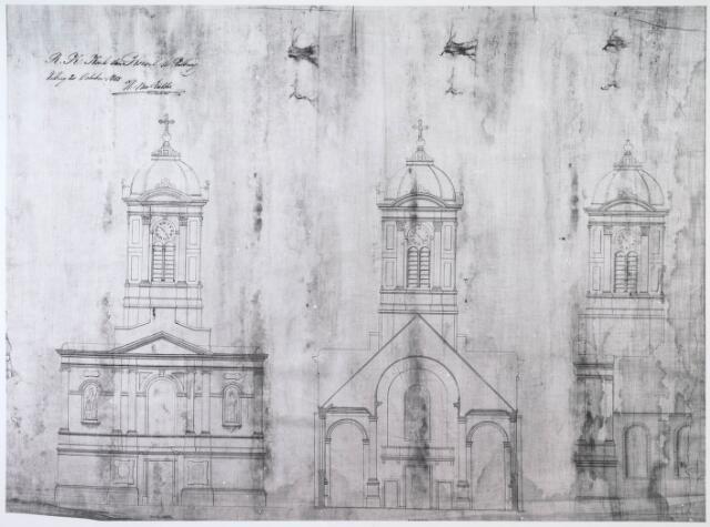 024484 - Ontwerptekening van H. van Tulder voor een kerk op het Korvelplein.