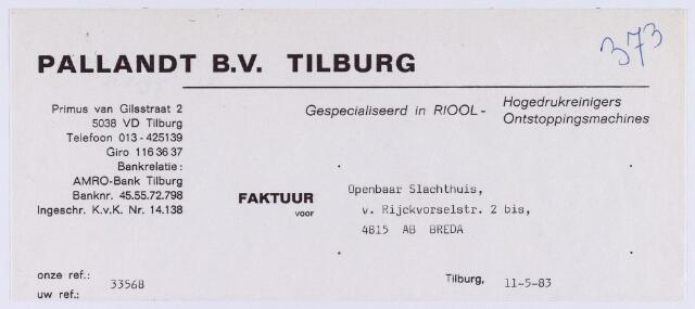 060875 - Briefhoofd. Nota van Pallandt B.V. Tilburg, Primus van Gilsstraat 2 voor Slachthuis , van Rijckevorselstraat 2 bis te Breda