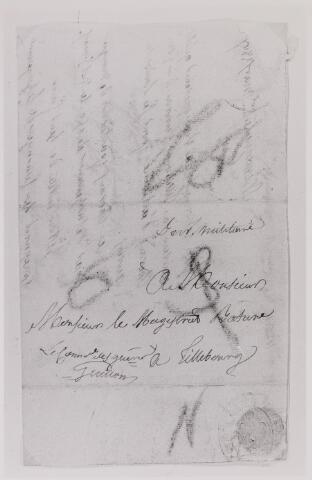 041632 - Postbrieven.  Envelop van een brief van Nijmegen aan de Magistraat van Tilburg.