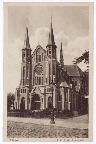 001470 - Koestraat, kerk van de H. Leonardus en gezellen (Besterd). Zelfs na de bouw van de kerk aan de Hoefstraat, waarbij een groot aantal parochianen overgingen naar de laatstgenoemde parochie, bleek de kerk van de Besterd nog te klein. In 1914 is de kerk vergroot met drie transsepten. Ook de twee torens zijn toen gebouwd.