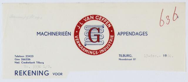 060121 - Briefhoofd. Briefhoofd van J.L. van Geffen, verwarmings-industrie, Noordstraat 51
