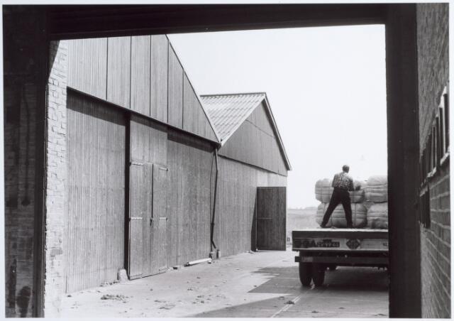 014615 - Het lossen van balen wol op het terrein van de Tilburgse Wolwasserij aan de Berglandweg