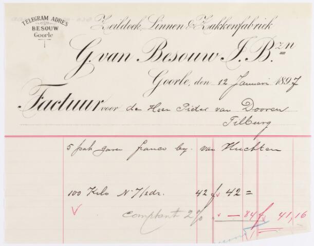 056398 - Briefhoofd. Factuur/rekening van Zeildoek, Linnen, Zakkenfabriek G. van Besouw voor de heer Pieter van Dooren
