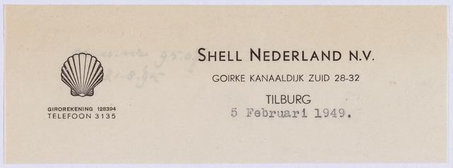 061032 - Briefhoofd. Briefhoofd van Shell Nederland N.V., Goirke Kanaaldijk Zuid 28-32