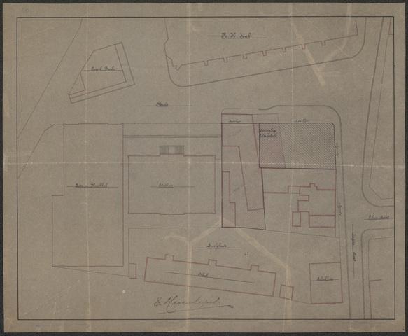 652488 - Situatie Markt met o.a. boterhal, stadhuis, school en voormalige weefschool.