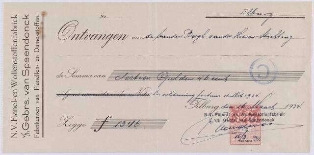 061156 - Briefhoofd. Nota van N.V. Flanel- en Wollnestoffenfabriek v/h Gebrs. van Spaendonck voor Bergh - van der Hoeven Stichting