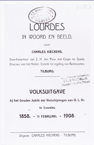 008717 - Titelblad van het door Charles Kieckens geschreven en uitgegeven boekje bij gelegenheid van het gouden jubileum van de verschijning van O.L.Vrouw te Lourdes.