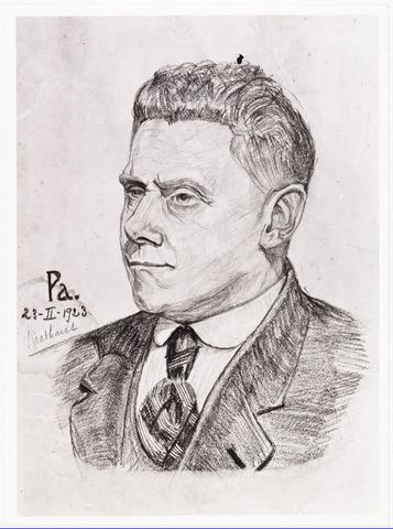 007781 - Tekening. De heer Roothaert. de tekening is gemaakt door 'PA'.