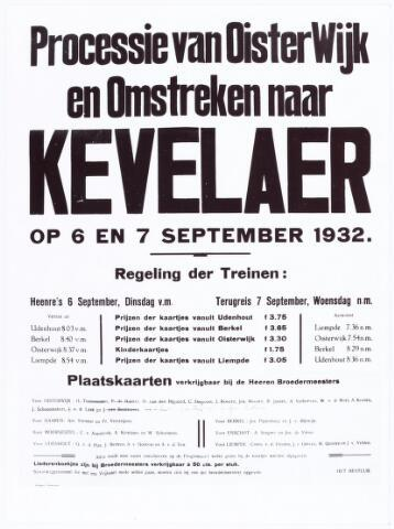 061981 - Affiche met vertrektijden uit Udenhout, Berkel, Oisterwijk en Liempde voor de processie van Oisterwijk en omstreken naar Kevelaer in 1932.