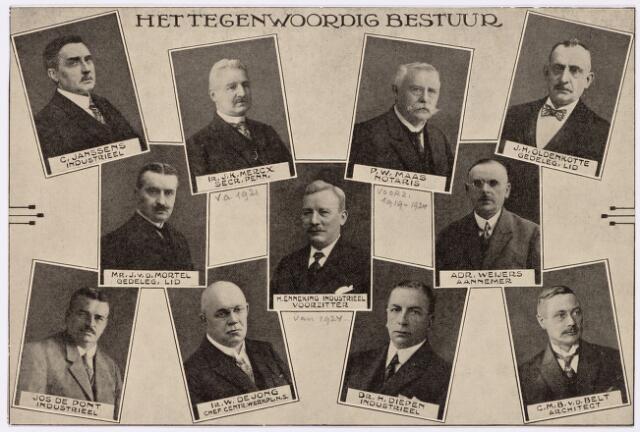 051840 - Lager en Middelbaar Voortgezet Onderwijs. R.K. Ambachtsschool - en Industrieschool en R.K. Technische school. v.l.n.r. Bestuur: C. Janssens; industrieel, Ir. J.K. Mercx; secretaris penningmeester vanaf 1921, P.W. Maas; notaris(voorzitter 1919-1924), J.H. Oldenkotte; gedelegeerd lid, Mr. J. v.d. Mortel; gedelegeerd lid; H. Enneking; industrieel (voorzitter vanaf 1924), Adr. Weyers; aannemer, Jos de Pont; industrieel, Ir. W. de Jong; chef.centrum. werkplaats N.S., Dr. H. Diepen; industrieel, C.M.B. v.d. Belt; architect.