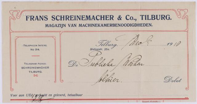 061082 - Briefhoofd. Nota van Frans Schreinemacher & Co, machinebehoeften, Stationstraat 27 voor de publieke werken van Tilburg