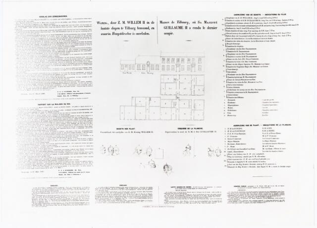"""008422 - Plattegrond van de """"Woning door Z.M. WILLEM II in de laatste dagen te Tilburg bewoond, en waarin Hoogstdezelve is overleden"""". In het Nederlands en Frans is ook opgenomen: Verslag der Geneesheren, Genealogie, tekeningen en namen van de aanwezigen."""
