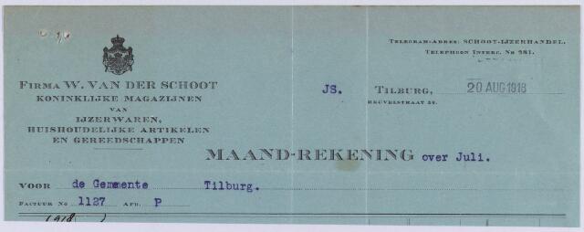 061062 - Briefhoofd. Nota van Firma W. van der Schoot, Koninklijke magazijnen van Ijzerwaren, Heuvelstraat 56 voor de gemeente Tilburg
