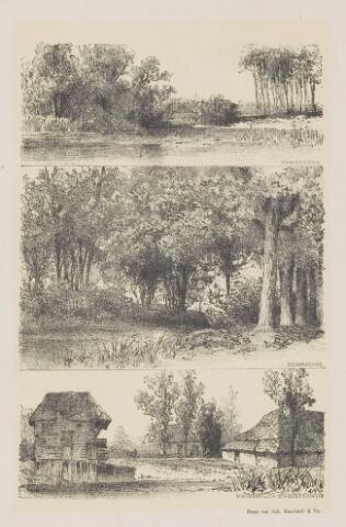 074646 - Etsen  uit Kraandijk, wandelingen door Oisterwijk met afbeeldingen van de Hondsberg (ven), durendael en  de watermolen Ter Borgh.