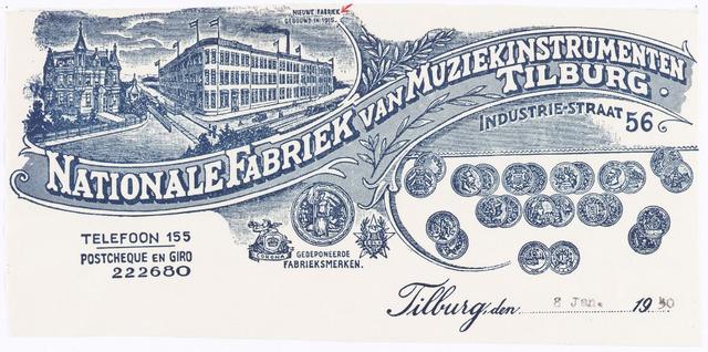 060458 - Briefhoofd. Briefhoofd van Kessels' Vereenigde Muziek-instrumenten Fabrieken, Industratiestraat 46, voorheen M.J.H. Kessels en Kessels' muziekinstrumeneten fabriek