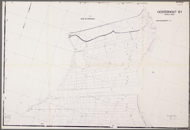 104991 - Kadasterkaart. Kadasterkaart / Netplan Oosterhout. Sectie B1. Schaal 1: 2.500.