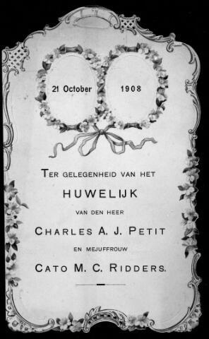 048459 - Menukaart ter gelegenheid van het huwelijk van Charles A.J. Petit en Cato M.C. Ridders in 1908.