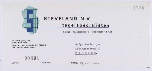 061181 - Nota van Steveland N.V., tegelspecialisten, Rosmolenplein 37 voor Coöp. Ververijen, Koningshoeven 77. Briefhoofd.