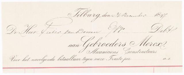 060708 - Briefhoofd. Nota van Gebroeders Mercx, voor de heer Pieter van Dooren te Tilburg