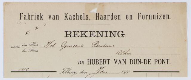 059998 - Briefhoofd. Nota van Hubert van Dun-de Pomt Fabriek van Kachels, Haarden en Fornuizen, voor de gemeente Tilburg