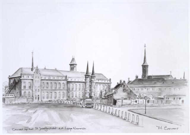 025344 - Tekening. Geozndheidszorg. Tekening van H. Corvers van het St. Josephgasthuis aan de Lange Nieuwstraat