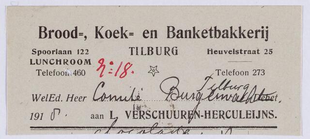 061336 - Briefhoofd. Nota van Brood-, Koek- en Banktbakkerij L. Verschuuren-Herculeijns, Heuvelstraat 25 voor de gemeente Tilburg