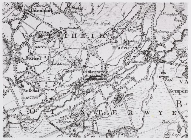 057090 - Kaart. Oisterwijk. Fragment uit kaart Verhees