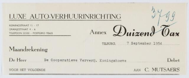 059993 - Briefhoofd. Nota van Duizend-Tax B.V., taxibedrijf, Piusplein 23-24 voor Coop. Ververij Koningshoeve
