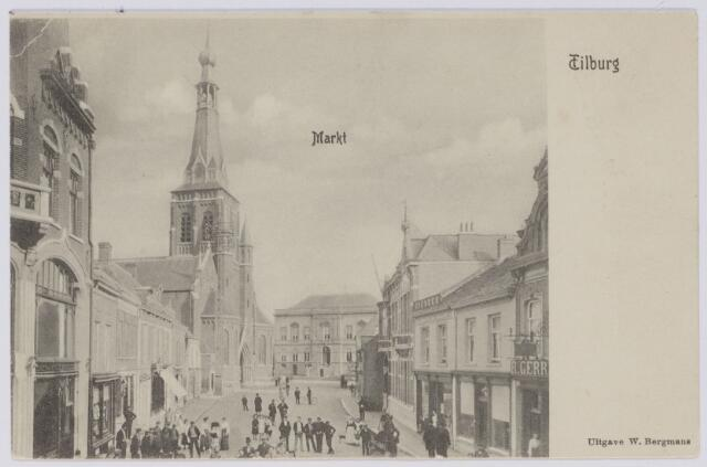 049269 - Oude Markt met Heikese kerk en op de achtergrond het voormalige gemeentehuis.
