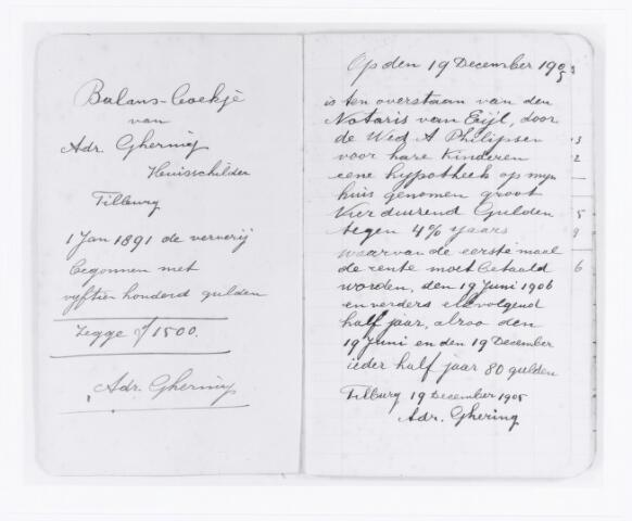 039612 - Schildersbedrijf Adr. Ghering opgericht 1 januari 1891 (balansboekje)