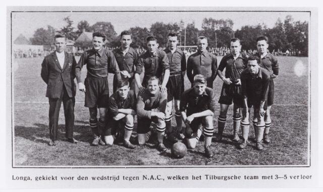 054128 - Sport. Voetbal. LONGA. Wedstrijd LONGA-NAC, uitslag 3-5   Reproductie uit Brabantse Illustratie