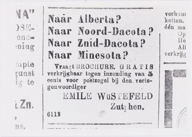 006638 - Emigratie. Advertentie in Tilburgse Courant van 6 februari 1909:  gratis brochure op te vragen.