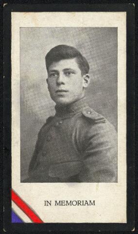 604415 - Bidprentje. Tweede Wereldoorlog. Oorlogsslachtoffers. Godefridus Wilhelmus M. Konings, werd geboren op 5 mei 1909 in Tilburg en overleed op 13 mei 1940 in Rhenen.  De Grebbeberg viel in Duitse handen en alhoewel op andere plaatsen Duitse aanvallen op de Grebbelinie werden afgeslagen, besloot de legerleiding, uit angst voor afsnijding in de rug, de troepen daar terug te trekken op de Nieuwe Hollandse-Waterlinie. Dienstplichtig soldaat FG.W.M. Konings, 2e Verplichtings Afdeling,  3e Regiment Genietroepen, sneuvelde bij de verdediging van de Grebbenberg.