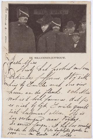 """003241 - """"De Millioenen-Juffrouw"""", Zij staat onder het bordje Tilburg. Haar naam is Maria Josephina Johanna Christina Verwaaijen. Zij werd geboren te Arnhem op 1 november 1873 en trouwde in 1905 met Emilius Franciscus Aloysius Swagemakers, geboren te Tilburg op 15 juli 1871."""