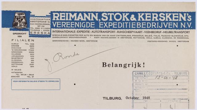 060957 - Briefhoofd. Briefhoofd van Reimann, Stok & Kersken's vereenigde expeditiebedrijven N.V.