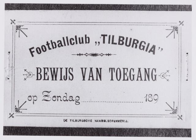 053992 - Sport. Voetbal. Willem II. De eerste toegangskaarten voor footballclub Tilburgia. Donateurskaart/ledenkaart.