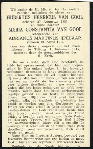 604522 - Bidprentje. Herbertus Henricus van Gool werd geboren op 27 augustus 1885 in Tilburg en overleed  op 1 februari 1945 in Tilburg.  Op die 1ste februari viel om tien over half een in de middag een V-1 neer in de Minister Talmastraat achter de woningen 44 en 46. Het resultaat was 22 doden, 6 zwaargewonden en 78 lichtgewonden. Negen woningen werden vernield en zeven zwaar beschadigd.