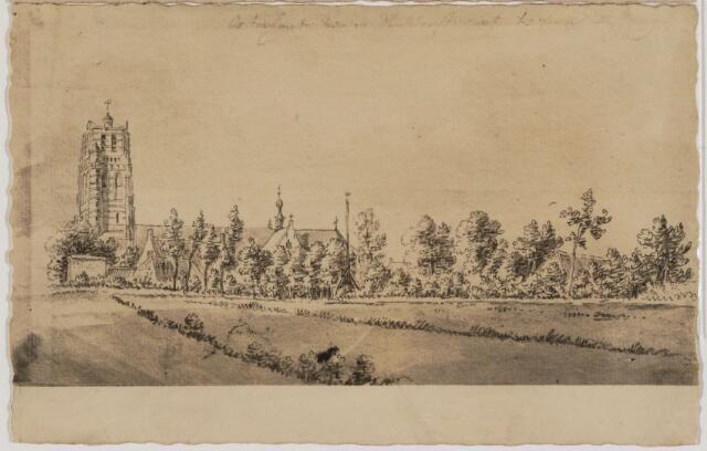 104327 - Tekening. Door een onbekende gemaakte tekening van het tot Brakestein behorend land ten n oorden van de Ridderstraat met de dreef, het schutshuis en de St. Janskerk