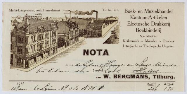059583 - Briefhoofd. Rekening van Drukkerij W. Bergmans voor de gemeente Hooge- en Lage Mierden ten behoeve van de school te Hulsel