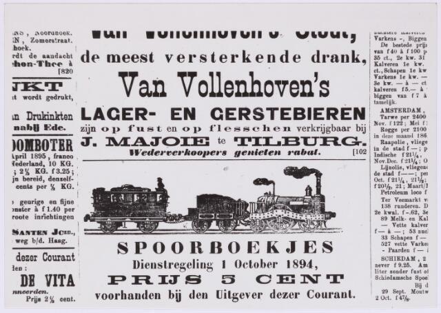 036778 - Spoorwegen: advertentie uit een Tilburgse krant van 1894
