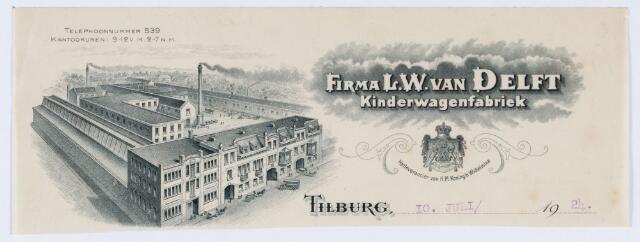 059888 - Briefhoofd. Briefhoofd van Firma L. W. van Delft, kinderwagenfabriek